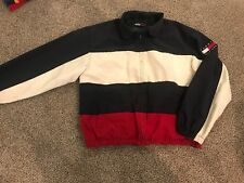 VTG Tommy Hilfiger Flag Logo Men's Reversible Jacket L Colorblock 90's