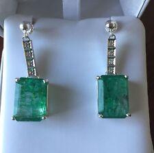 Huge 20 Carat Natural Zambian Emerald & diamond dangle Platinum & SS earrings