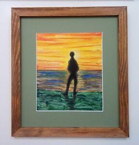Llop - aclilico/oleo 'contemplando la albada' lienzo enmarcado 39x35