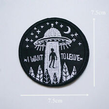DIY UFO Alien Flying Saucer Sew Iron On Embroidery Patch Badge Bag Hat Applique
