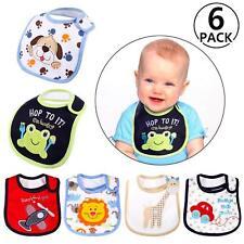 Set 6 Bavaglini Neonato Cotone Impermeabili Bavetta Bambino Bimbo Neonata