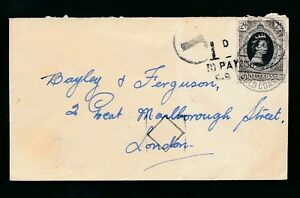GOLD COAST 1953 CORONATION 2d UNDERPAID + CHARGED POSTAGE DUE GB + DIAMOND CHECK