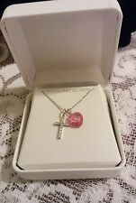 Lovely White and Pink Created Sapphire Cross & Heart Sterling Necklace NWT 2.3gr