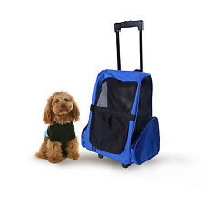 4N1 Pet Carrier Dog Cat Rolling Luggage Backpack Travel Tote Pet Car Seat Blue