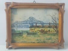 Willard M Mitchell Canadian Watercolor Carved Frame Miniature New Harbour Bridge