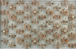 Wholesale Mixed Lots 32pcs Rose Gold Plated Jewelry Clear Rhinestone Lady's Ring