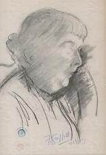 IMPRESSIONIST OLD LADY PORTRAIT Pastel Drawing SICKERT Pupil FRANK GRIFFITH 1953