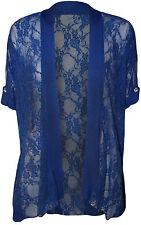 Womens Plus Size Ladies Lace Button Open Cardigan Short Sleeve14 - 28 Royal 22-24