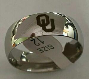 Oklahoma Sooners Titanium Ring, style #7, sizes 5-14