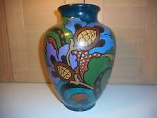 ANTIQUE ART NOUVEAU LARGE GREEN PURPLE BROWN & BLUE FLORAL HANDPAINTED VASE