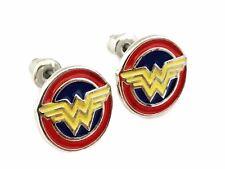 Wonder Woman Logo Metal Enamel Stud Earrings