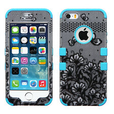 Apple iPhone 5S SE IMPACT TUFF HYBRID Case Skin Cover Black Lace Flowers Teal