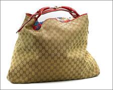 Authentic GUCCI GG / Horsebit 114900 Beige / Red Jacquard & Leather Shoulder Bag