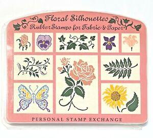 Vintage PSX Floral Silhouettes Rubber Stamp Set 10 Foam 1994 SK142 Flowers Plant