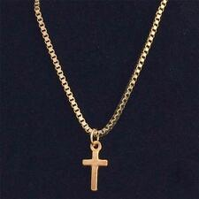 Rose Gold Plated Cross Necklace, Unisex Cross on Chain for Men or Women.18 inch