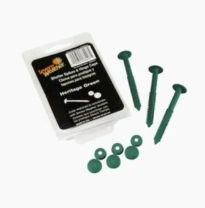 """Heritage Green Shutter Fasteners 3"""" Spikes & Hinge Caps 12 count. NEW"""