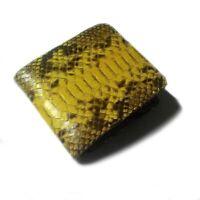 Handmade Genuine Python Skin Leather Mens Bifold Wallet - Yellow