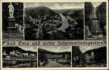 Bad Ems AK ~1940/50 Mehrbildkarte Kaiser-Wilhelm-Denkmal Kurtheater Kurhaus Kur