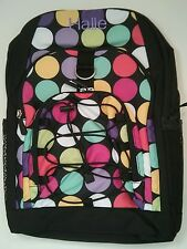 Pottery Barn PB Teen Black Multi Big Dot Gear Up Large Backpack name HALLE New