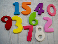 EDIBLE NUMBERS ON WIRES x 1- APPROX 6-7CM HIGH - **BEAUTIFUL**