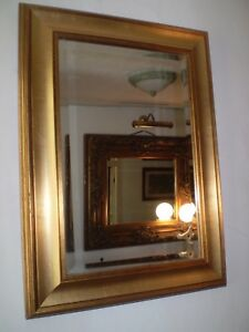 STYLISH VINTAGE DANISH 1970'S GOLD GILTED MIRROR,BEVELLED EDGE,LOVELY CONDITION