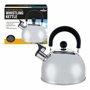 🔥New 2L Stainless Steel Whistling Kettle kitchen/Home Camping Gas Hob Chrome