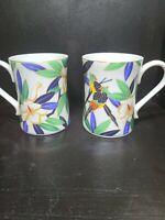 2 Tropicale Takahashi Coffee Mug Tea Cup Parrots Tropical Jungle Hawaii Floral