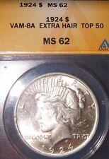 1924 $1 VAM 8A Extra Hair Peace Dollar ANACS MS62 ~TOP 50 PEACE DOLLAR~