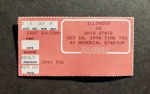 Illinois vs Ohio State 1998 College Football Ticket Stub 41-0 Ohio State win!!