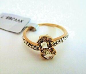 1.2 Ct Rare Color Change Turkish Csarite & Diamond 10K Yellow Gold Ring Size 7