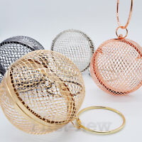 Women Metal Cage Bag Chain Ball Shaped Crossbody Evening Round Handle Clutch Bag