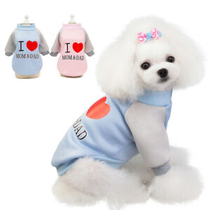 Cute Pet Dog Winter Clothes I Love MOM & DAD Warm Puppy Cat Sweater Chihuahua