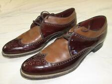 Vtg 60s Stacy Adams 2 Tone Patent Leather Wing Tip Dress Shoe 10 D Mod Hollywood