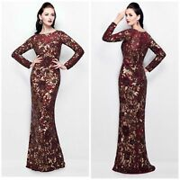 PRIMAVERA COUTURE 1401  LONG SLEEVE SEQUINED FLORAL GOWN IN BURGUNDY ALL SIZES