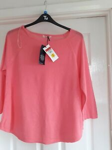 Lovely M&S Rose Pink Fine Knit Jumper Size 16 Nwt