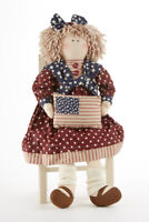 New Primitive Country Americana Patriotic RAGGEDY ANN DOLL With FLAG 18""