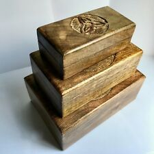 NEW NEST OF 3 TRIQUETRA WOOD TRINKET BOXES HAND MADE CARVED JEWELLERY, CELTIC