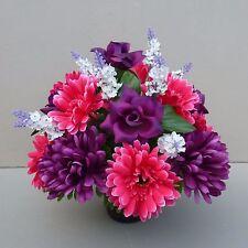 Artificial Silk Flower Arrangement In Pot For Grave/Memorial Vase/Purple/Pinks17