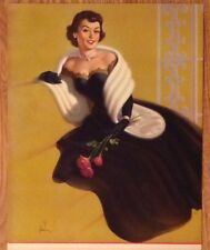 PRETTY PINUP FANCY DRESS SALESMEN Calendar LARGE SAMPLE LITHO BY FRAHM 1940s #5