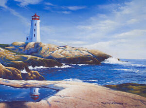 Original Acrylic Painting Lighthouse Rock Bay 12x16 Seascape by Timothy Stanford