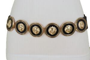 Women Gold Metal Lion Coin Medallion Buckle Black Elastic Waistband Belt Fit S M