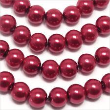 Set 30 perline Madreperlaceo 8mm Rosso Rubino in vetro di Boemia