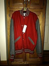 DeLong Varsity Letterman Jacket Size L Red Body/Gray Sleeves And Gray Trim Wool