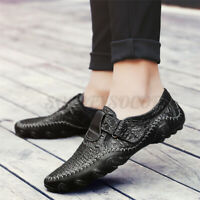 US Men's Driving Boat Shoes Leather Moccasins Mesh Slip on Outdoor Loafers  /