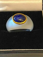 Gorgeous frosted crystal, 14K gold and lapis lazuli ring. Size M-N. Unusual.