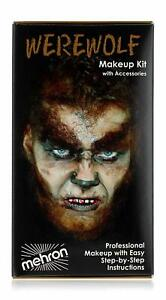 Werewolf Deluxe Makeup Kit Mehron 12 Pc Professional Cosmetic Kit W/ Instruction
