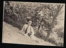 Antique Photograph Man Wearing Sunglasses Lounging on Ground Old Time Camera