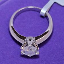Solitaire Diamond Engagement Ring 1ct 14k White Gold Toned Round Cut Size 6
