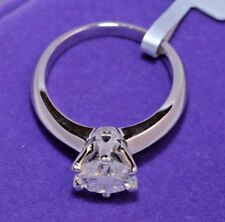 Solitaire Diamond Engagement Ring 1ct 14k White Gold Toned Round Cut Size 4.5
