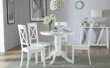 Kingston Round White Dining Room Table & 4 Kendal Chairs Set
